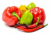 Sweet Pepper, Chili Pepper And Basil Isolated On White