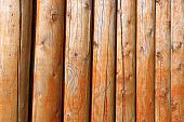 stock photo of stockade  - Background of log stockade covered with a varnish - JPG