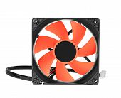 cpu cooler red fan on white