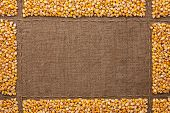 Beautiful Frame With Corn On Sackcloth