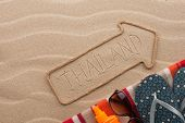 Thailand  Pointer And Beach Accessories Lying On The Sand