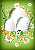 Greeting Card For Easter With Ornament From Eggs And Spring Flowers On Green Background.