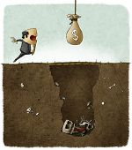 foto of trap  - illustration of businessman deceived with a money trap - JPG