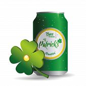 an isolated can of beer and a clover for patrick's day