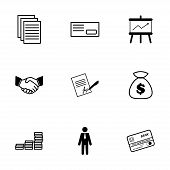 Vector black business icons set