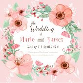 foto of marriage ceremony  - Flower wedding invitation card save the date card greeting card - JPG