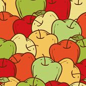 Ripe Apples Seamless Pattern