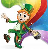picture of pot gold  - Leprechaun with a pot of gold on rainbow background - JPG