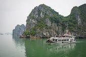 Tourist boat in Halong Bay, Vietnam
