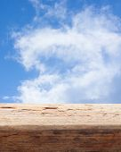 tabletop wooden background sky blur