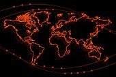 Glowing Fiery Contour Map Of The World