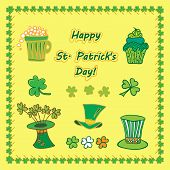 Set Irish st patrick day pattern with flat symbols of the holiday in different colors. Vector illust