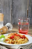 Spaghetti With Slices Of Mushrooms And Tomatoes