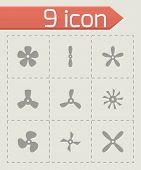 Vector fans and propellers icon set