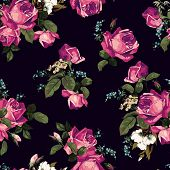 Seamless Floral Pattern With Pink Roses On Dark Background