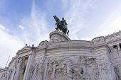 stock photo of altar  - Statues in Victor Emmanuele II Monument altar of the fatherland taken in the morning - JPG