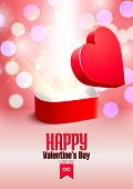 Valentine's Day Postcard With Opened Surprise Gift Box And Shine
