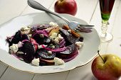 Roasted beets with apple, soft cheese, seeds