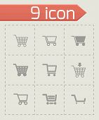 Vector black shopping cart icon set