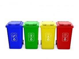 picture of recycle bin  - Colorful recycle bins isolated on white background - JPG