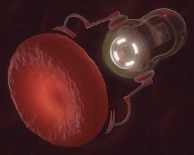 foto of hemoglobin  - Nanobot looking at a hemoglobin with possible virus infection - JPG