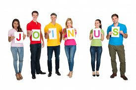 picture of joining  - Group Of Friends Holding Letters Together Forming Word Join Us Over White Background - JPG