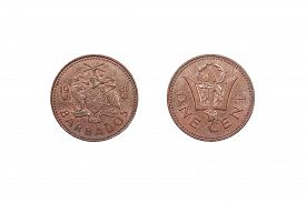 pic of trident  - A one cent coin from Barbados showing a trident on the reverse side dated 1981 - JPG