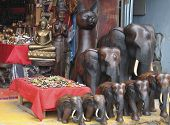 picture of southeast  - Souvenir shop with wooden sculptures Koh Samui Thailand Southeast Asia - JPG