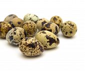 stock photo of quail  - spotted quail eggs isolated on white background - JPG