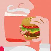 foto of greedy  - Close up of a Man eating a Big hamburger vector comic illustration - JPG