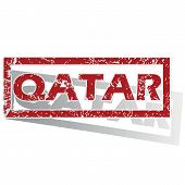 image of qatar  - Outlined red stamp with country name Qatar - JPG