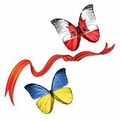 pic of gibraltar  - Two butterflies fluttering with flags of Ukraine and the Gibraltar - JPG