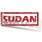stock photo of sudan  - Outlined red stamp with country name Sudan - JPG