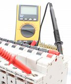 image of  multimeter  - Electric switch on the control panel with multimeter - JPG