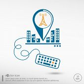 pic of transmission lines  - Transmitter icon and keyboard - JPG