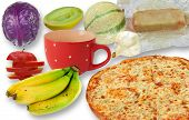 picture of junk  - Junk food vs fruit and vegetables on white - JPG
