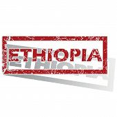 foto of ethiopia  - Outlined red stamp with country name Ethiopia - JPG
