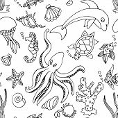 foto of seahorse  - Hand drawn seamless pattern with different sea creatures - JPG