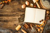 image of christmas cookie  - Baking concept background with cookbook - JPG
