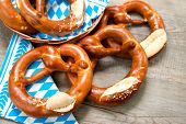 picture of pretzels  - Group of Bavarian pretzels on napkin - JPG