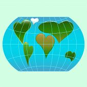 stock photo of continent  - A world globe with continents in the shape of a heart symbols - JPG