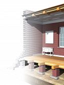 stock photo of soffit  - Cross section of brick house - JPG