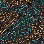 pic of aztec  - aztec geometric seamless pattern with grunge effect - JPG