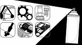 image of multi purpose  - Service Multi purpose oil product for technician symbol black and white design for sign brochure pattern logo present on your product - JPG