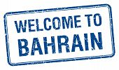 picture of bahrain  - welcome to Bahrain blue grunge square stamp - JPG