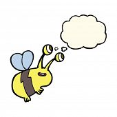 pic of bee cartoon  - cartoon happy bee with thought bubble - JPG