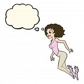 stock photo of valkyrie  - cartoon flying woman with thought bubble - JPG