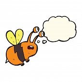 picture of bee cartoon  - cartoon frightened bee with thought bubble - JPG