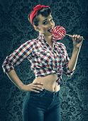 pic of lollipop  - Vintage woman in old room with lollipop - JPG