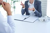 pic of conduction  - Businesswoman conducting an interview with businessman in an office - JPG